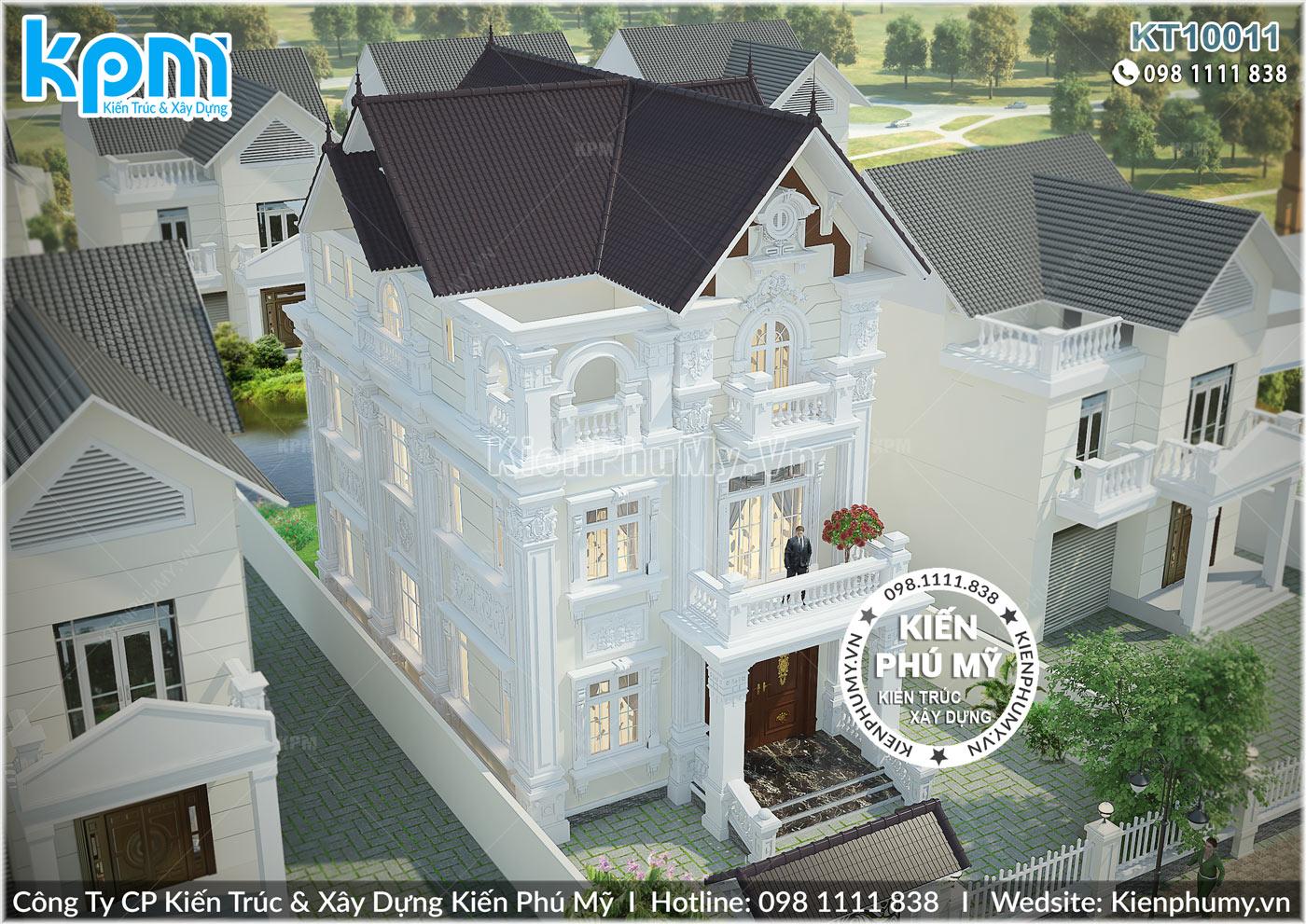 Mẫu thiết kế biệt thự 3 tầng đẹp kiến trúc tân cổ điển
