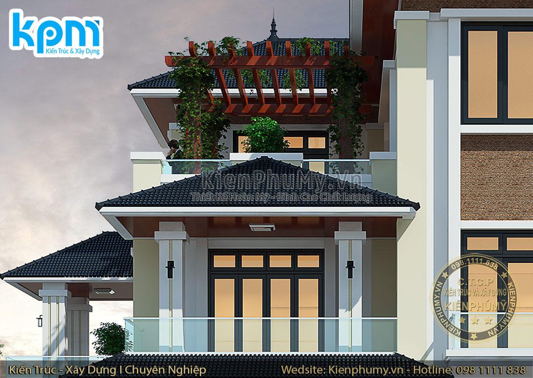 Chi tiết của mẫu nhà 3 tầng hiện đại mặt tiền 11m đẹp