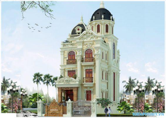 Thiết kế biệt thự lâu đài 4 tầng mặt tiền 8m tại Hà Nam