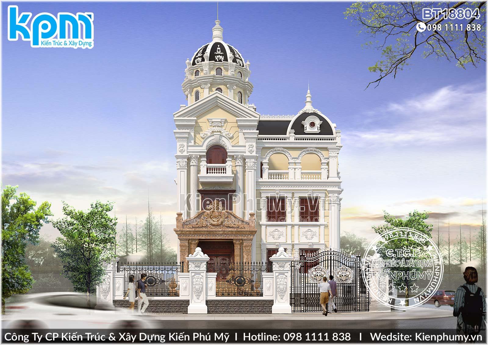 Thiết kế mặt tiền 9m biệt thự cổ điển pháp tại Hà Nam