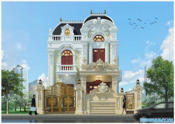 Thiết kế biệt thự cổ điển 2 tầng bề thế