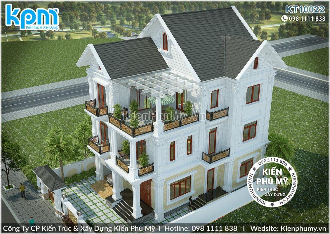 Kiến trúc ngoại thất sang trọng, lộng lẫy của căn biệt thự kiểu Pháp 3 tầng