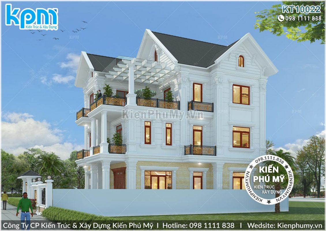 Thiết kế mặt bên cân đối, khỏe khoắn của căn biệt thự 3 tầng kiểu Pháp