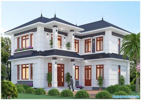 Kiến trúc nhà vườn mái thái chữ L 2 tầng đẹp