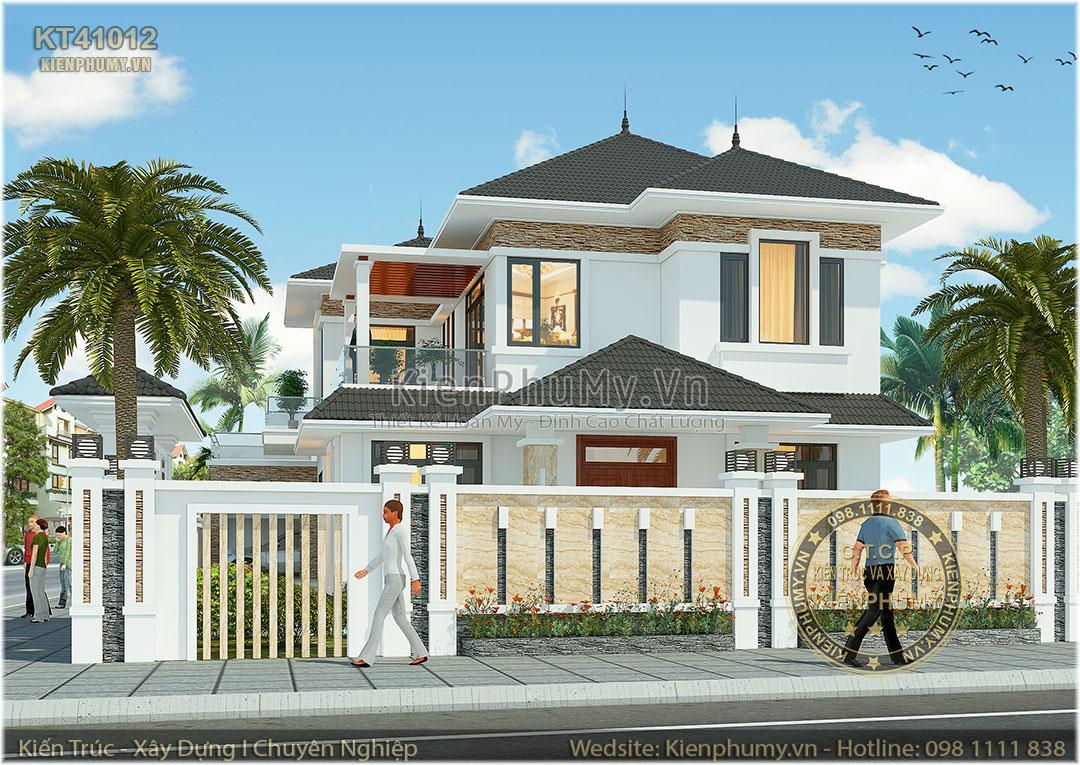 Thiết kế nhà vườn mái thái 2 tầng đẹp đẳng cấp
