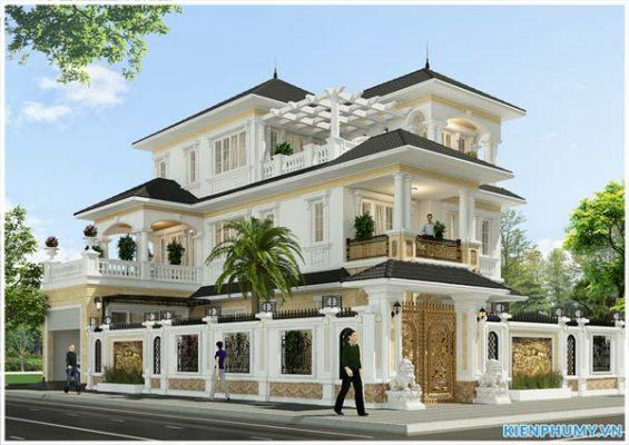 Mẫu nhà biệt thự đẹp 3 tầng 2 mặt tiền