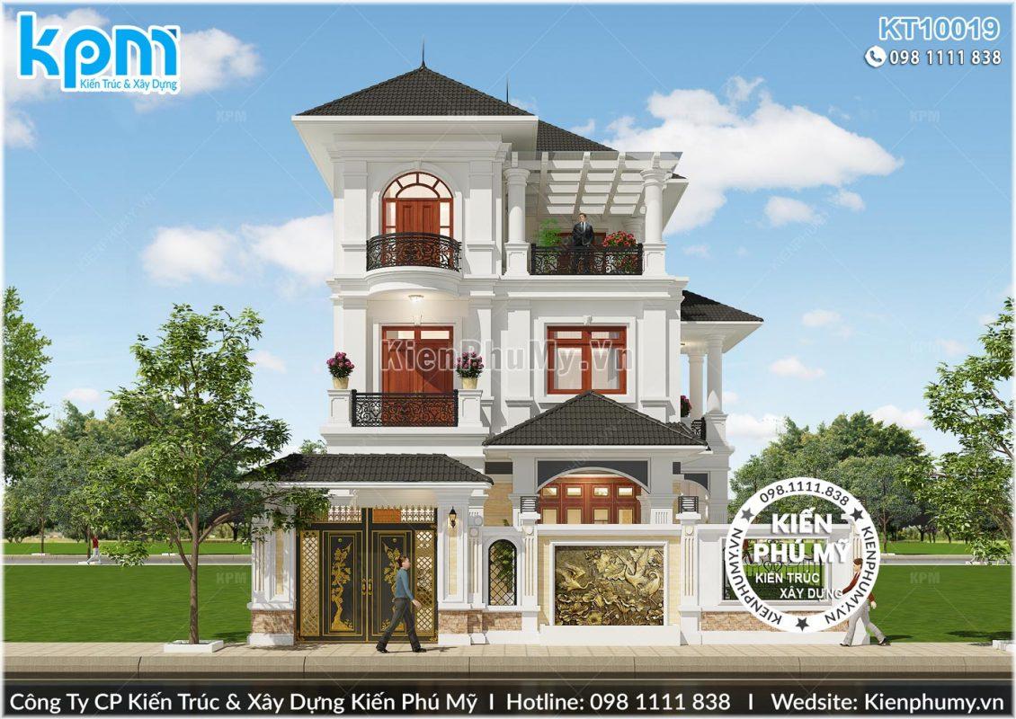 Thiết kế mặt tiền rộng 8,5m sang trọng của mẫu thiết kế biệt thự 3 tầng đẹp
