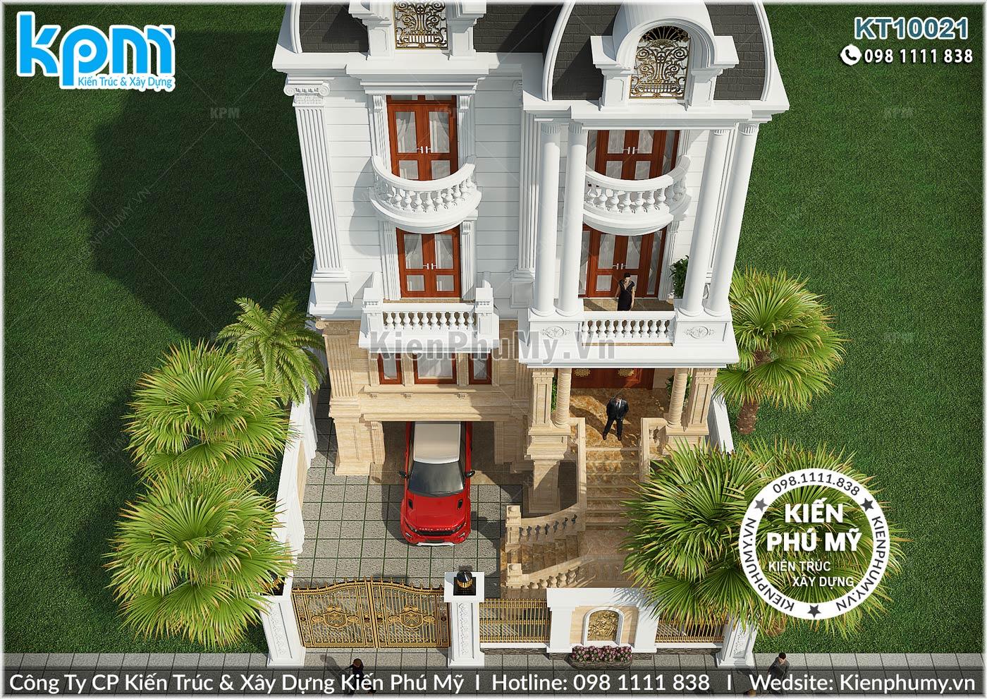 Thiết kế biệt thự 4 tầng mặt tiền 10m đẹp đẳng cấp