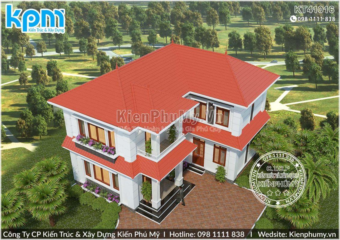 Thiết kế nhà vườn chữ L 2 tầng 900tr tại Nam Định
