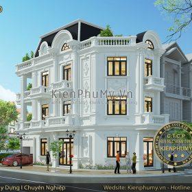 Thiết kế nhà phố cổ điển 3 tầng đất góc