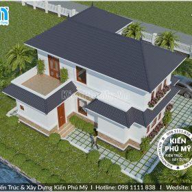 Thiết kế nhà vườn mái thái 2 tầng chữ L đẹp 4 phòng ngủ