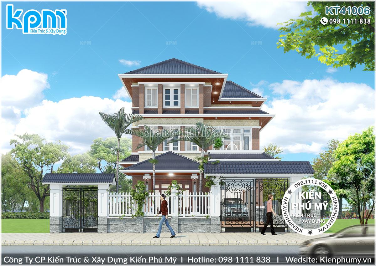 Thiết kế nhà 3 tầng mái thái đẹp mặt tiền 8,5m