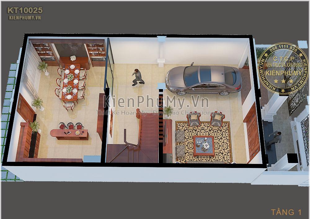 Thiết kế 3d nội thất tầng 1 căn biệt thự cổ điển