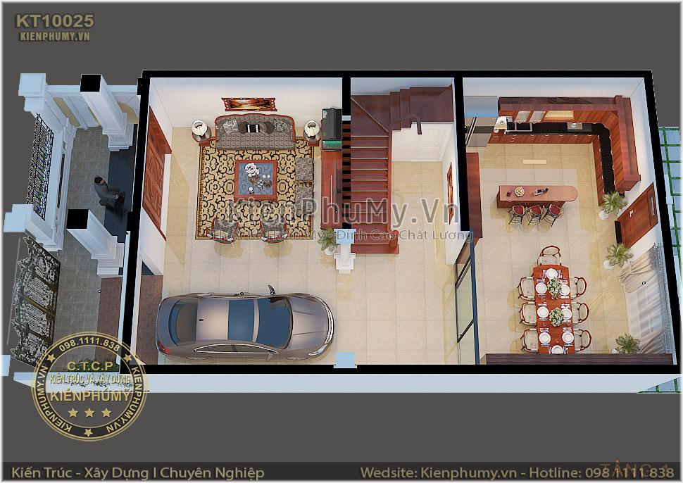 Phối cảnh 3D nội thất tầng 1 mẫu biệt thự mặt tiền 8m
