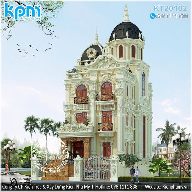 Thiết kế kiến trúc biệt thự lâu đài 4 tầng kiểu pháp