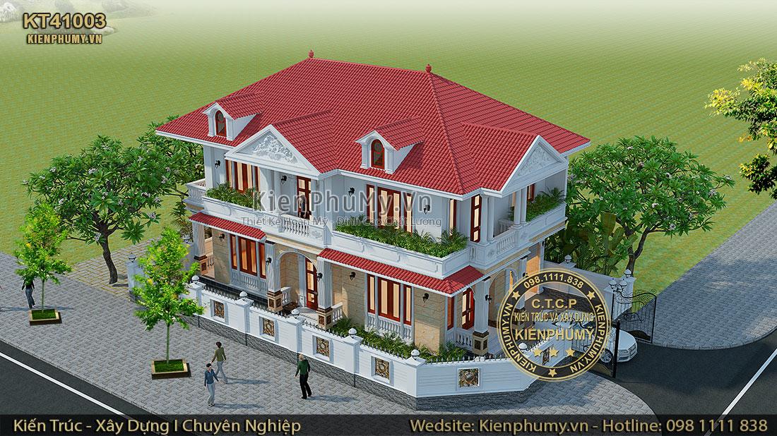 Thiết kế biệt thự mái thái 2 tầng diện tích 120m2/sàn