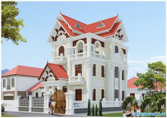 Thiết kế biệt thự tân cổ điển 3 tầng mặt tiền đẹp hoành tráng