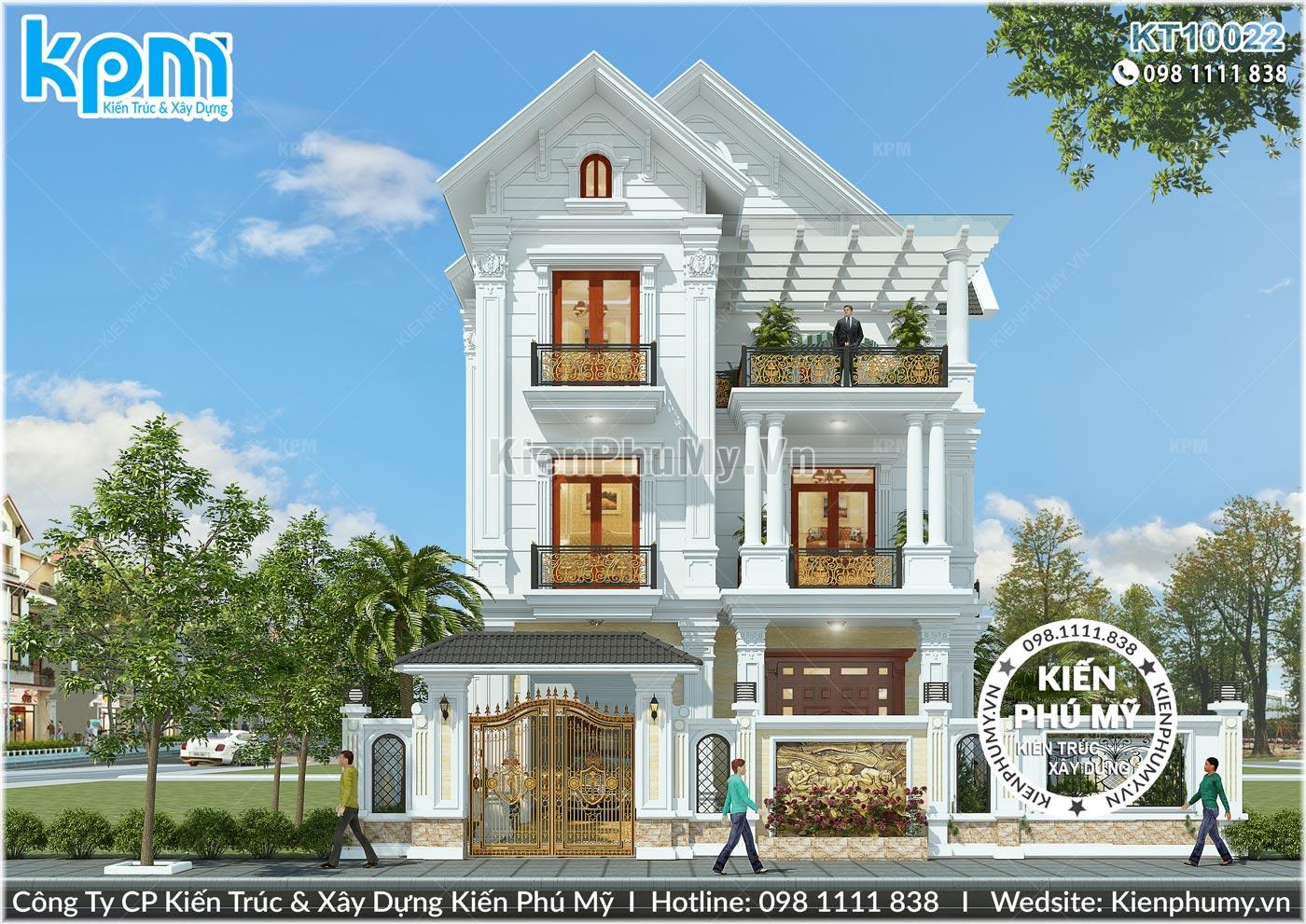 Biệt thự kiểu pháp 3 tầng mặt tiền rộng 10m đẳng cấp tại Ninh Bình