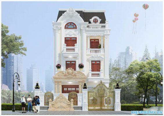 Mẫu nhà biệt thự cổ điển 3 tầng mặt tiền rộng 8m đẳng cấp
