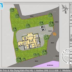 Thiết kế tổng thể mẫu nhà vườn 1 tầng mái thái 180m2