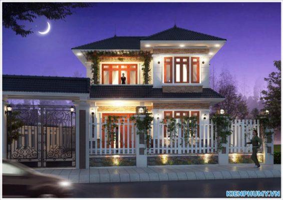 mẫu thiết kế nhà 2 tầng mái thái hiện đại