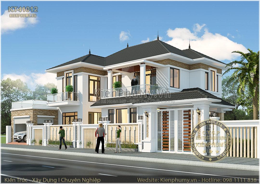Kiến trúc biệt thự nhà vườn 2 tầng mái thái đẹp