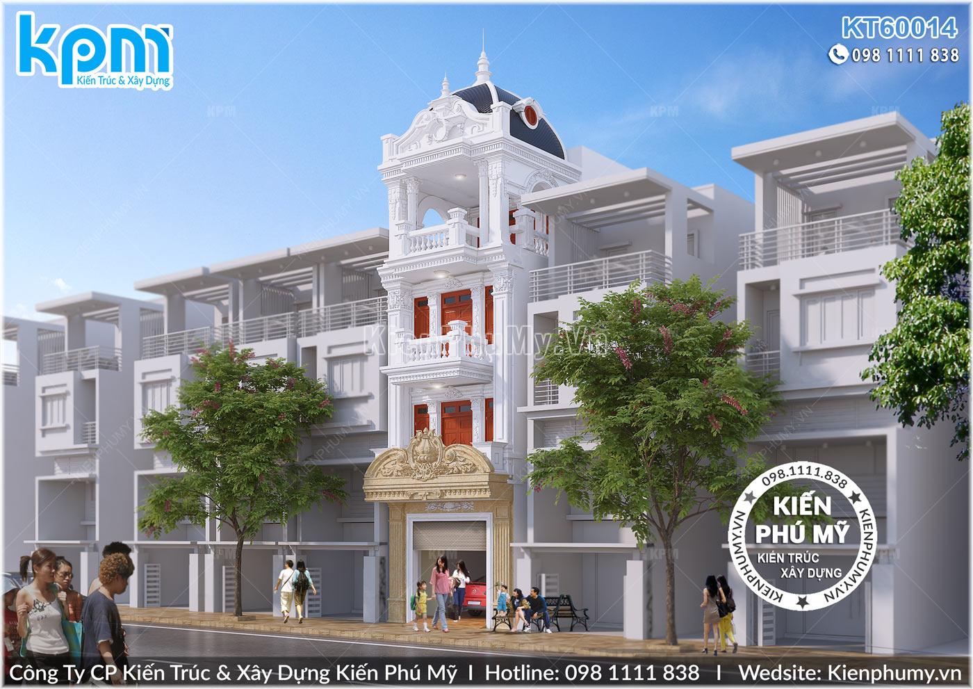 Thiết kế nhà phố Pháp 4 tầng mặt tiền rộng 5m đẹp