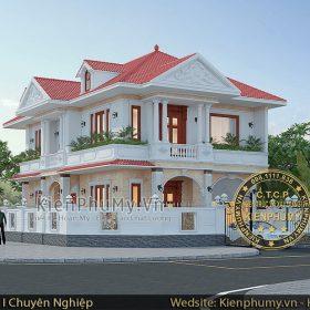 Mẫu nhà 2 tầng mái thái kiến trúc tân cổ điển pháp đẹp