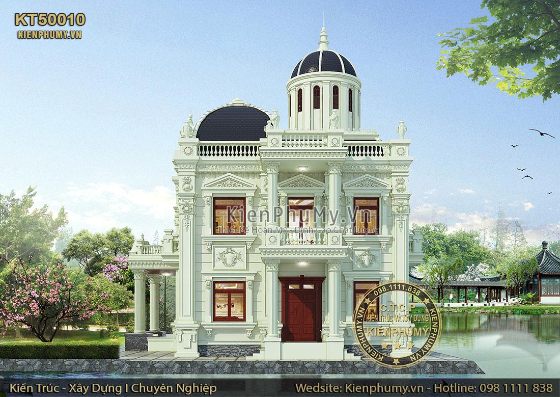 Mẫu biệt thự cổ điển pháp 2 tầng 1 tum 2 mặt tiền