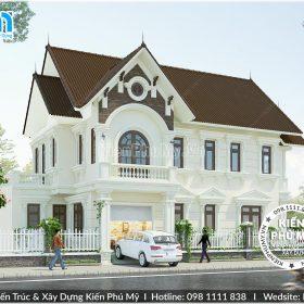 Thiết kế kiến trúc biệt thự 2 tầng mái thái 8x12m