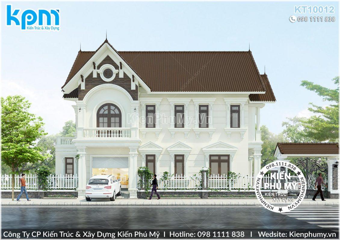 Kiến trúc mặt tiền chính rộng 12m của căn biệt thự 2 tầng
