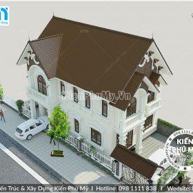 Phối cảnh tổng thể mẫu nhà 2 tầng mái thái 8x12m