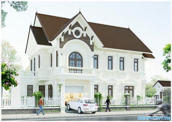 Thiết kế mẫu nhà 8x12m kiến trúc Pháp đơn giản