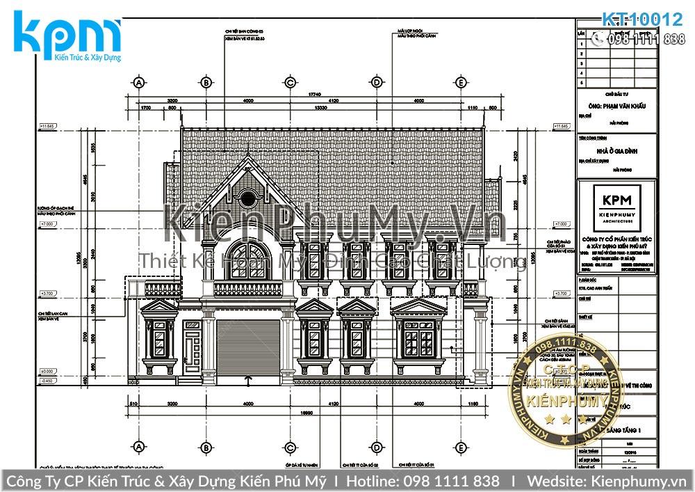Bản vẽ chi tiết mẫu nhà mái thái 8x12m
