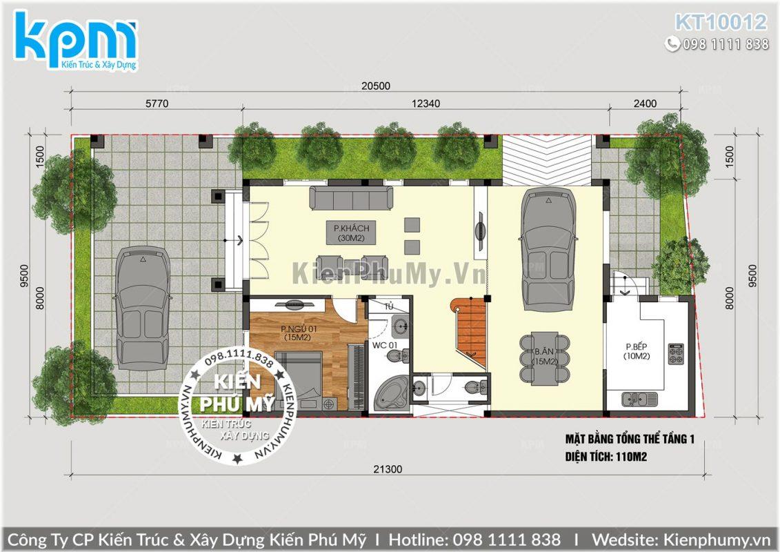 Bản vẽ mặt bằng nhà mái thái 8x12m tại Hải Phòng