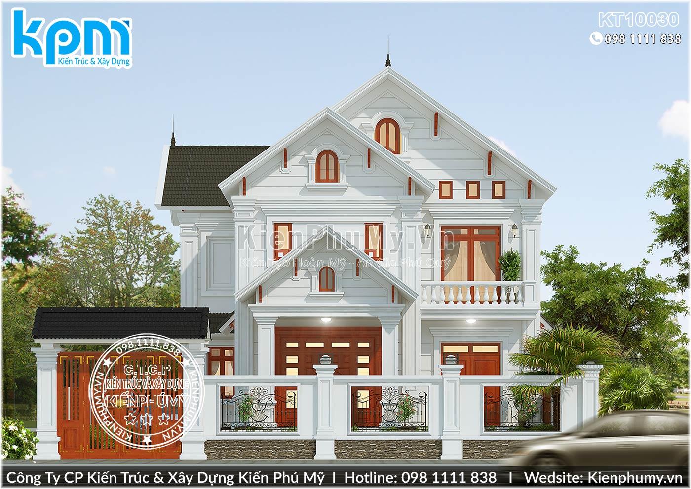 Thiết kế mặt tiền rộng 9,5m biệt thự 2 tầng tân cổ điển