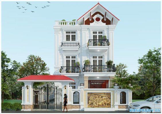 Thiết kế biệt thự 3 tầng mặt tiền 7m kiến trúc Pháp sang trọng