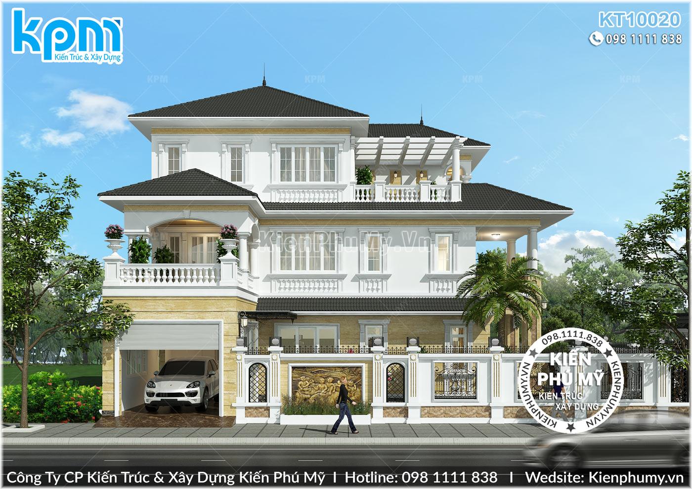 Thiết kế mặt tiền thứ 2 tạo cảm giác đồ sộ cho căn biệt thự đẹp 3 tầng