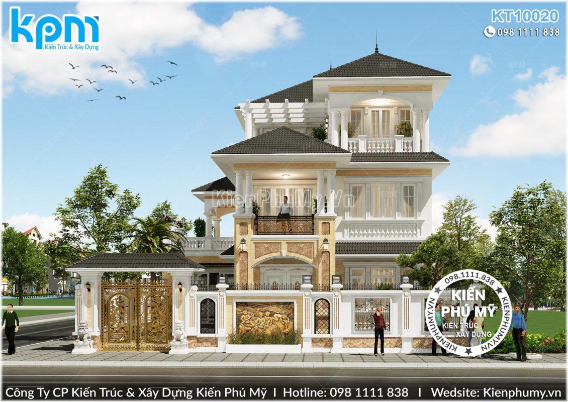 Thiết kế mặt tiền chính ấn tượng của mẫu nhà biệt thự 3 tầng đẹp