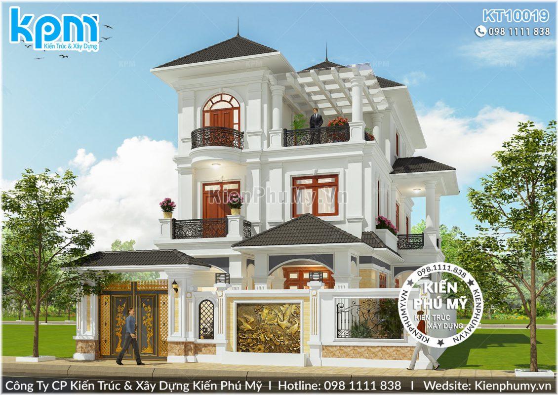 Kiến trúc tân cổ điển mái thái của mẫu biệt thự 3 tầng đẹp