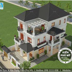 Thiết kế biệt thự 3 tầng đẹp hoàn hảo diện tích 140m2 1 sàn