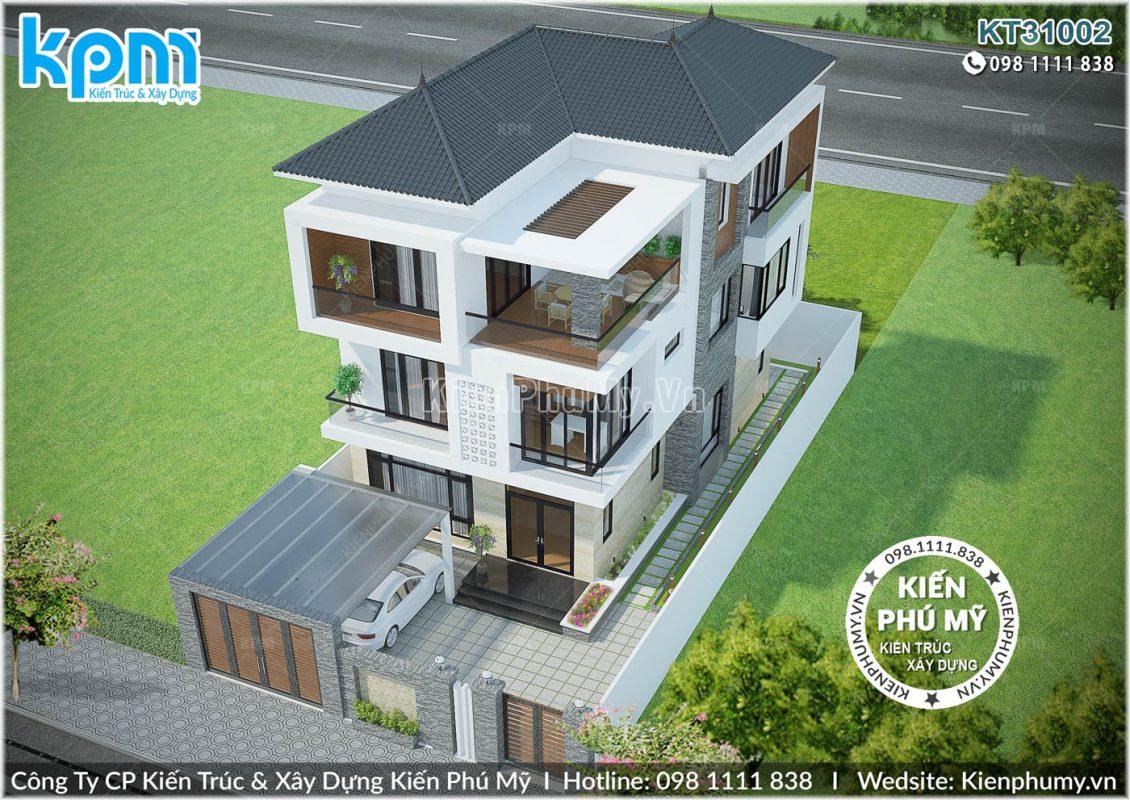 Thiết kế tổng thể của căn biệt thự 3 tầng
