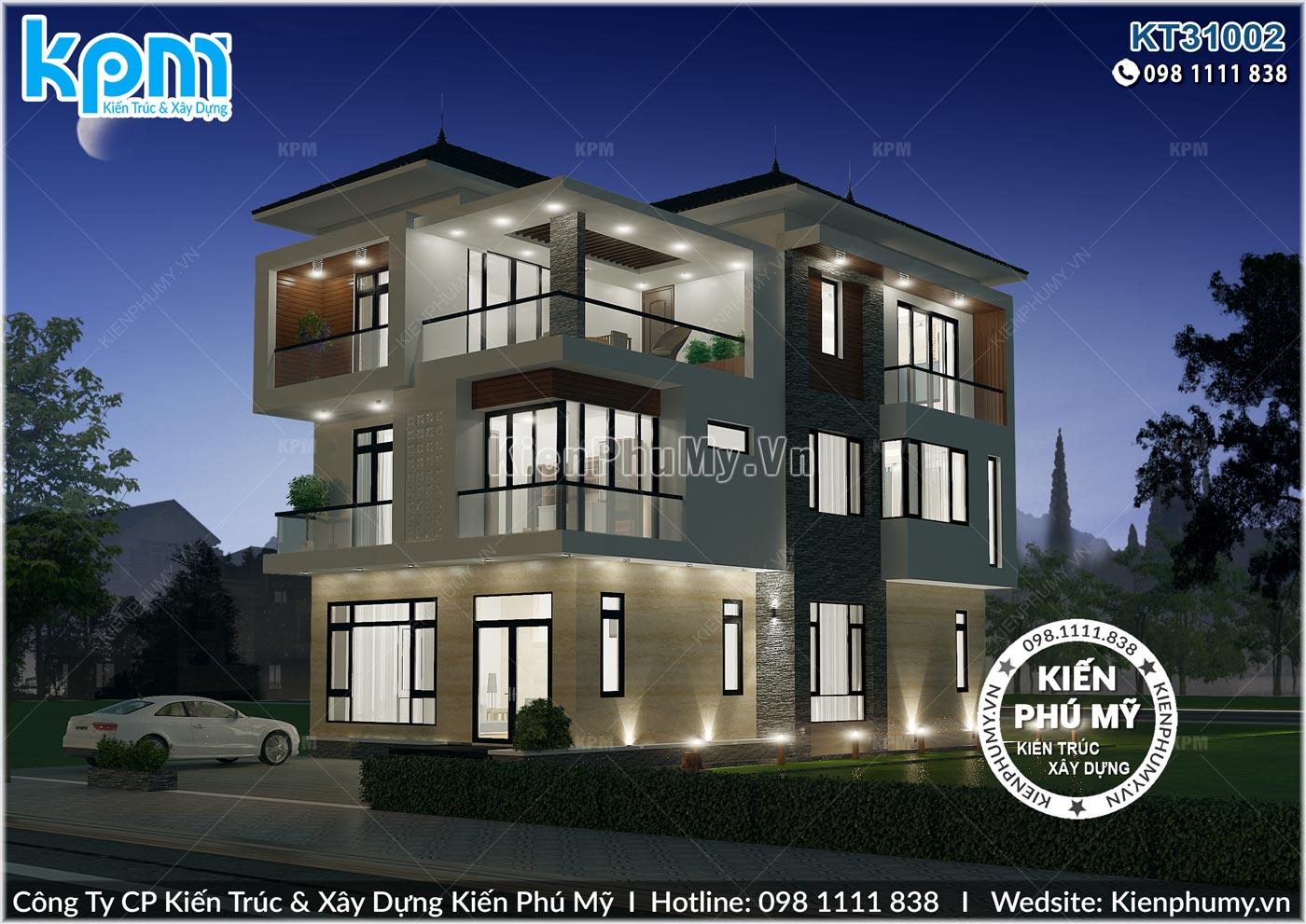 Thiết kế chiếu sáng ban đêm đẹp lung linh của căn biệt thự 3 tầng hiện đại