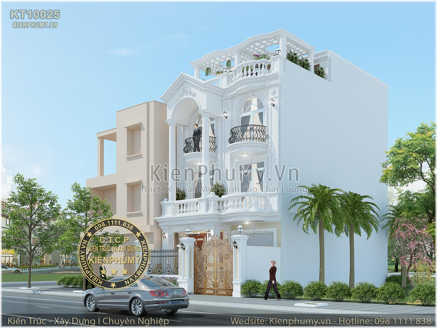 Thiết kế biệt thự phố 3 tầng 1 tum mặt tiền 8m