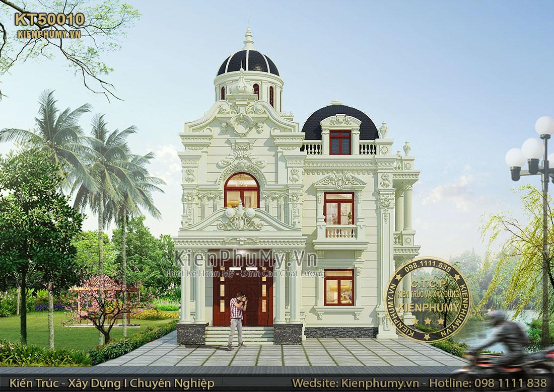 Thiết kế biệt thự cổ điển pháp 2 tầng mặt tiền 10m