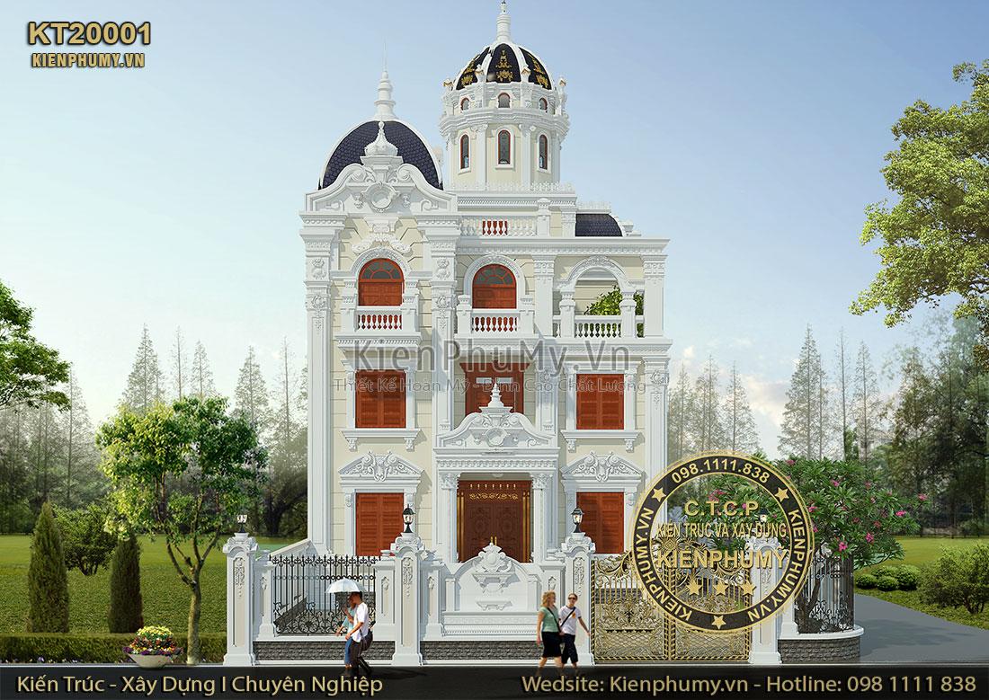 Thiết kế lâu đài pháp 3 tầng 2 mặt tiền đẹp