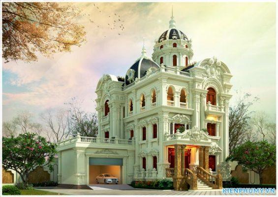 Công ty thiết kế biệt thự lâu đài pháp 3 tầng 1 tum tại hà nội