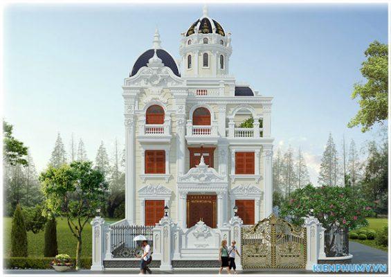 thiết kế lâu đài 3 tầng 1 tum đẹp đẳng cấp tại thành phố hải dương