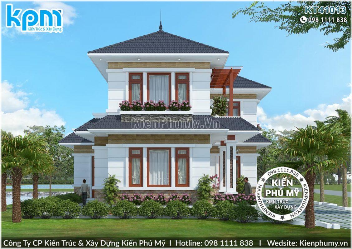 Kiến trúc nhà vườn chữ L mái thái 2 tầng đẹp