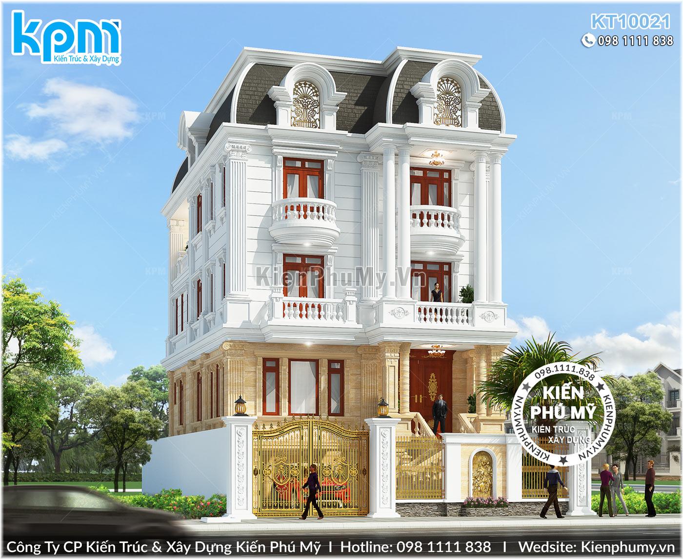 Mẫu thiết kế biệt thự 4 tầng kiến trúc cổ điển sang trọng